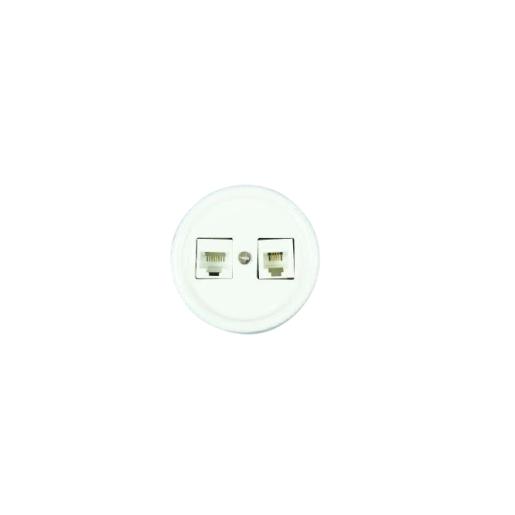 Antica ceramiczne natynkowe gniazdo komputerowe/telefoniczne białe,T04/RJ11/RJ45 biały