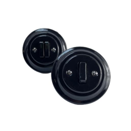 ANTICA NEW podwójny-schodowy włącznik czarny podtynkowy K1- R220Q BLACK