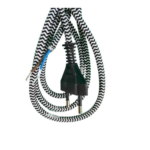 """Kabel przyłączeniowy w oplocieokrągły biało-czarny """"zebra"""" z wyłącznikiem"""