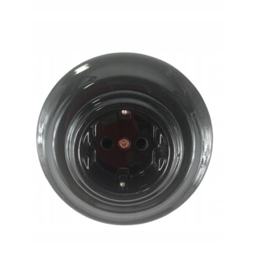 Podtynkowe gniazdko elektryczne retro ANTICA CZARNA, TT-02 czarny