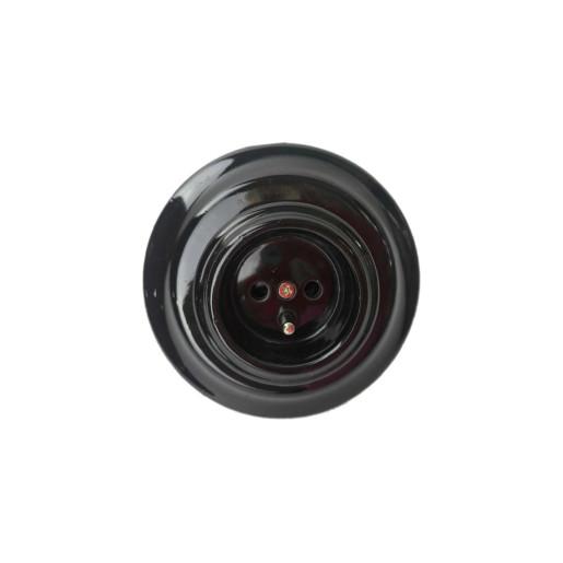 Ceramiczne Podtynkowe Gniazdo Czarne z bolcem uziemiającym  w stylu retro, TTW-03 czarny French
