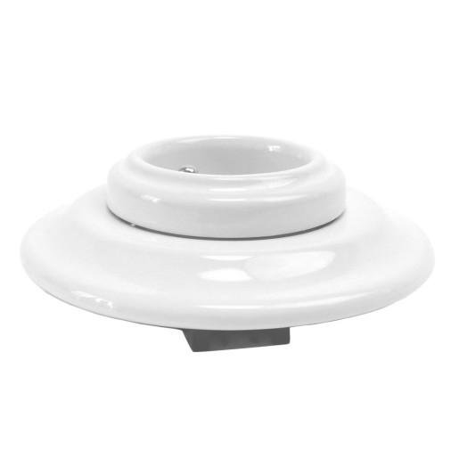 Ceramiczne Podtynkowe Gniazdo Białe z bolcem uziemiającym w stylu retro, TTW-03 biały French
