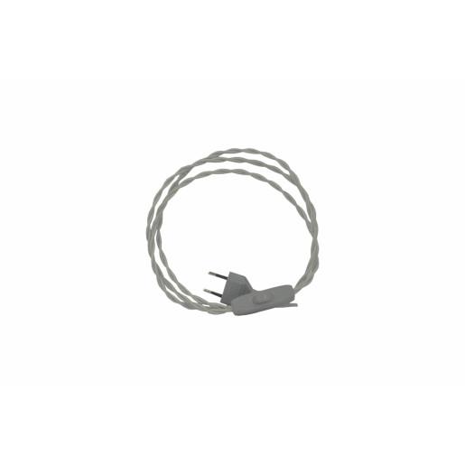 Kabel przyłączeniowy w oplocie skręcanym z wyłącznikiem SREBRNY