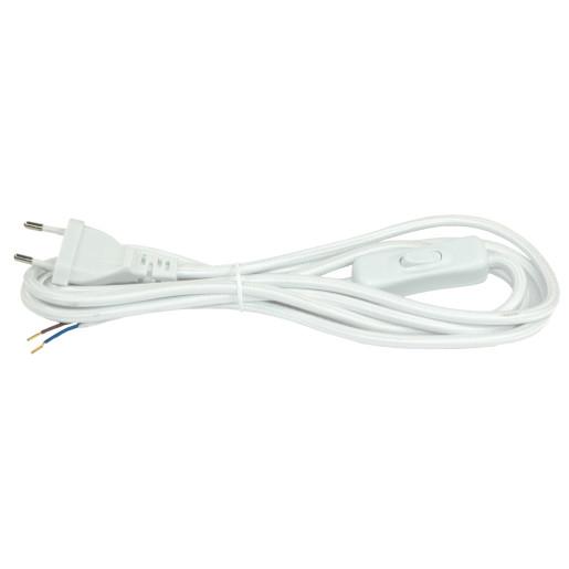 Kabel przyłączeniowy w oplocieokrągły biały z wyłącznikiem