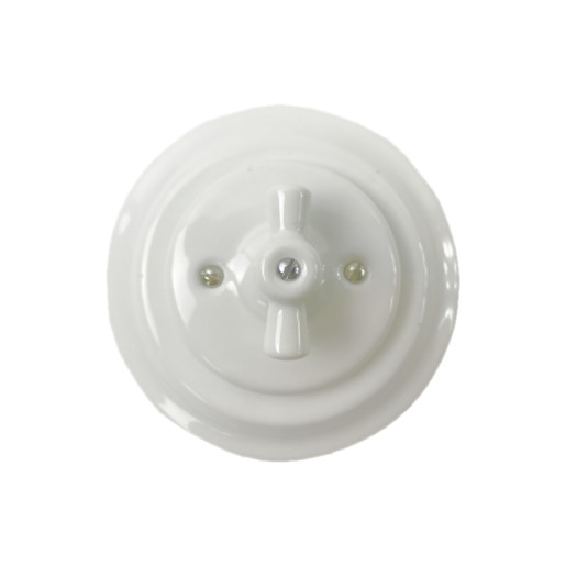 Podtynkowy włącznik krzyżowy światła retro ANTICA BIAŁA, TT-01C biały