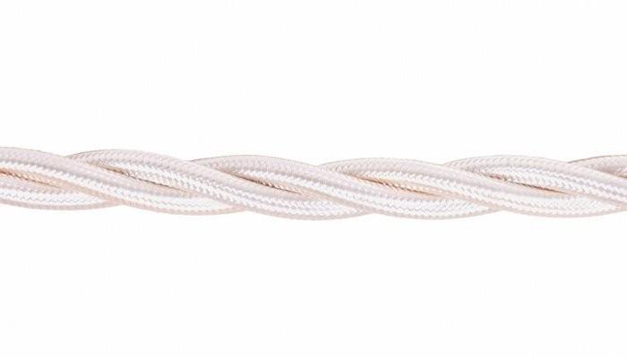 Kabel w oplocie skręcanym kość słoniowa 2x0,75