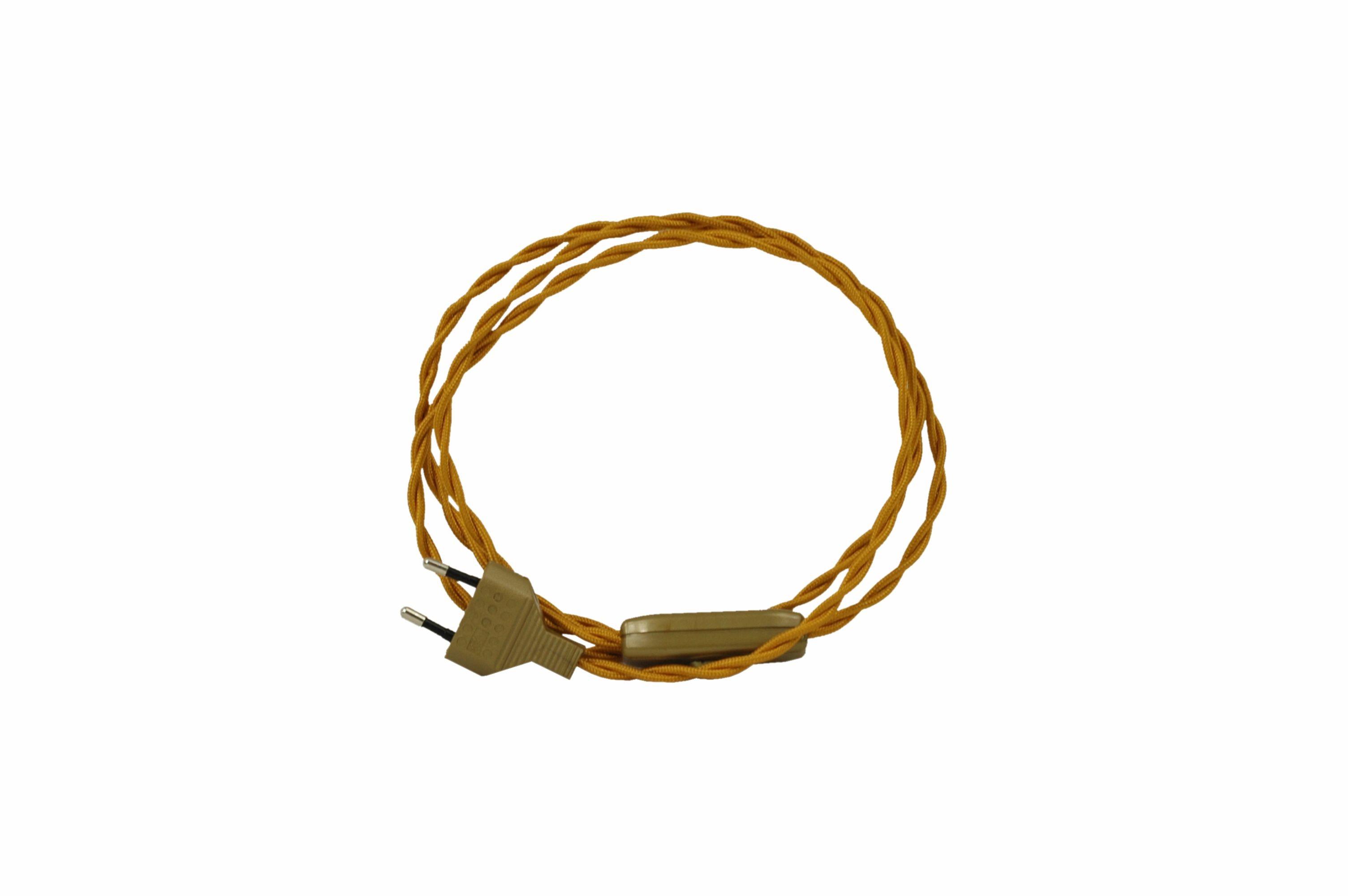 Kabel przyłączeniowy w oplocie skręcanym z wyłącznikiem ZŁOTA MIEDŹ