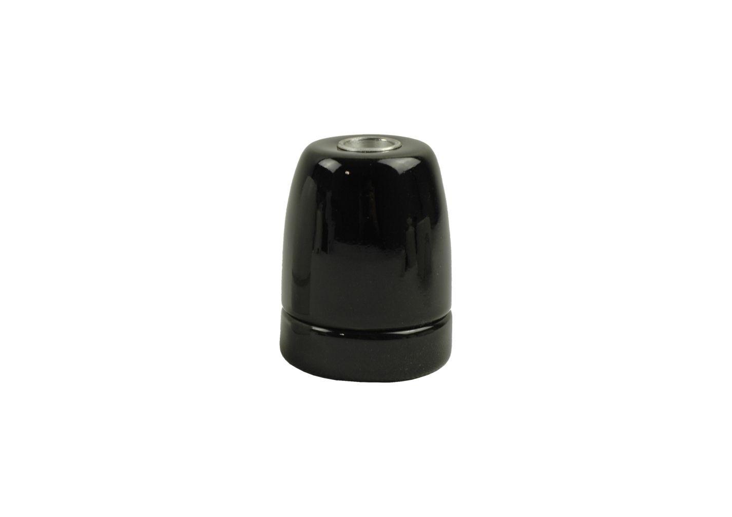Oprawka porcelanowa E-27 czarna z połyskiem