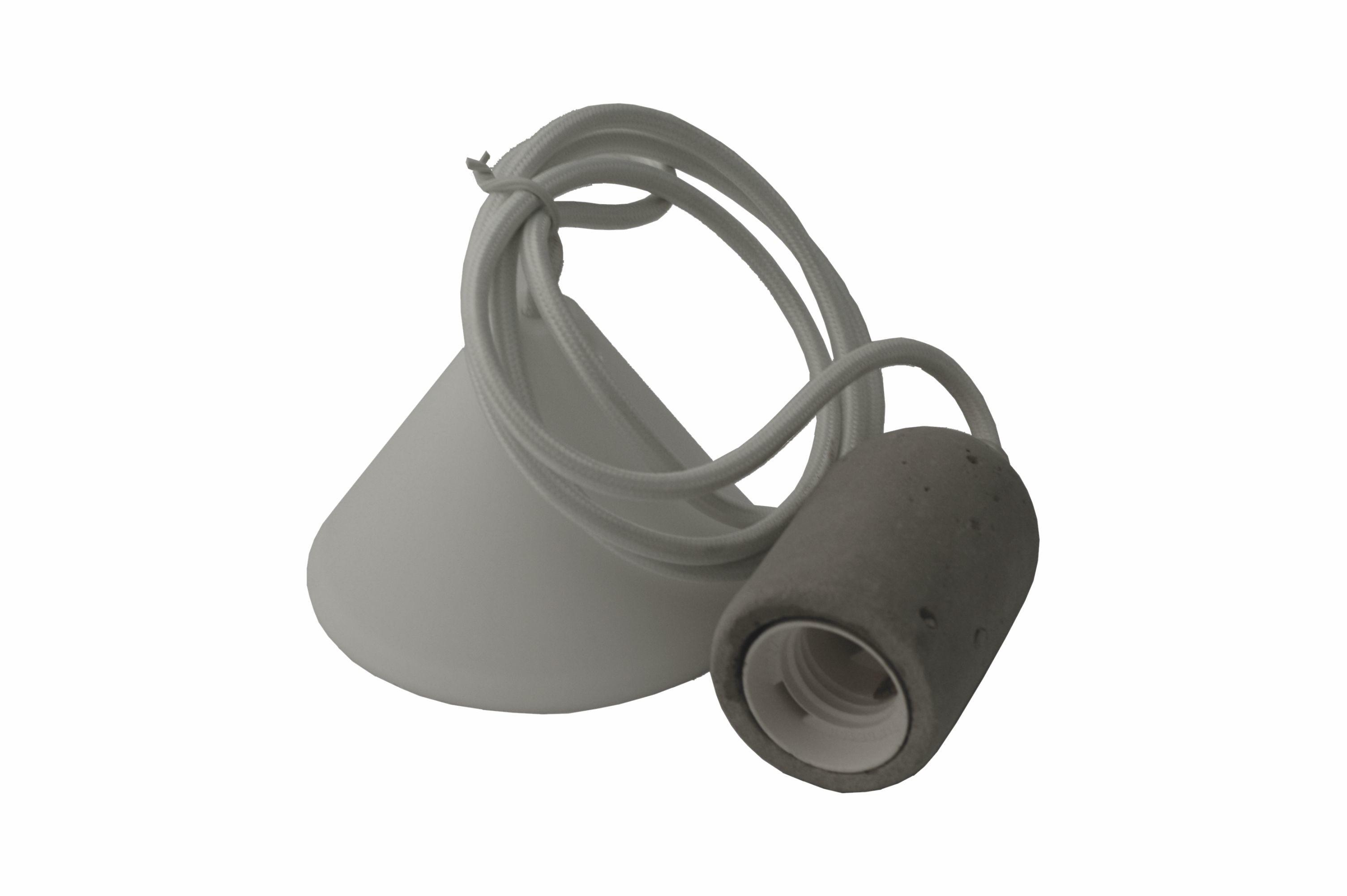 Lampa wisząca betonowa E27 biała