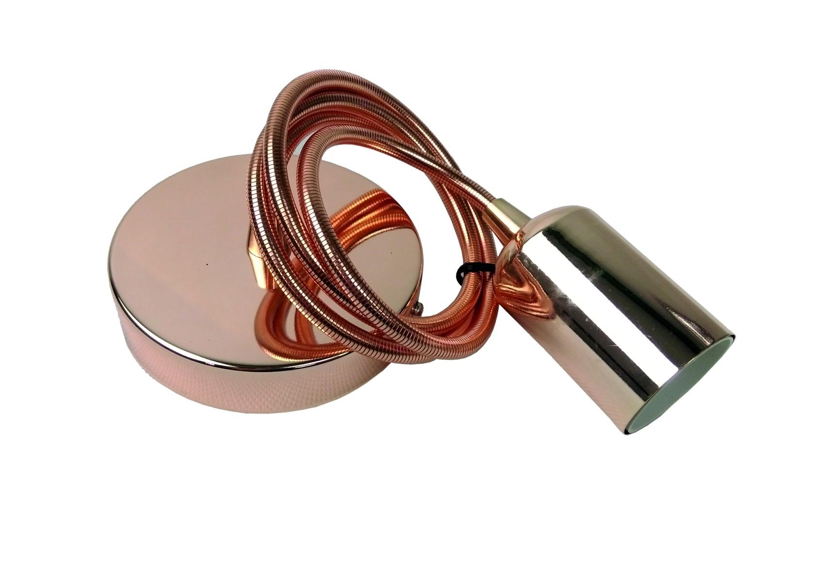 Zwis sufitowy z liną metalową E27 MIEDŹ
