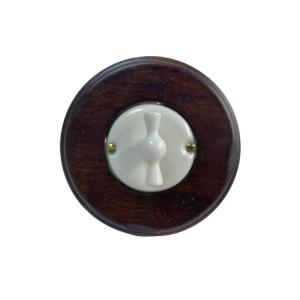 Porcelanowy włącznik pojedynczy/schodowy podtynkowy biały Gi_GAMBARELLI, Arreda Round/Tonda,20.110.10