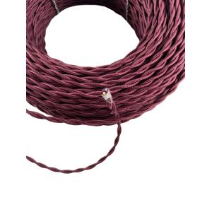 Kabel w oplocie skręcanym bordowy 2x0,75 F.A.I ( Włochy )
