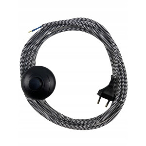 Przewód z włącznikiem nożnym i wtyczką, kolor: czarno-biały, zebra