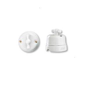 Porcelanowy włącznik natynkowy obrotowy klasyczny, biały, GiGambarelli 00300