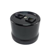 Antica ceramiczne natynkowe gniazdo komputerowe/telefoniczne czarne,T04/RJ11/RJ45