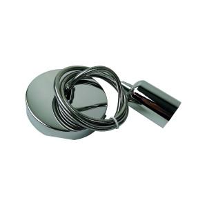 Zwis sufitowy z liną metalową E27 CHROM